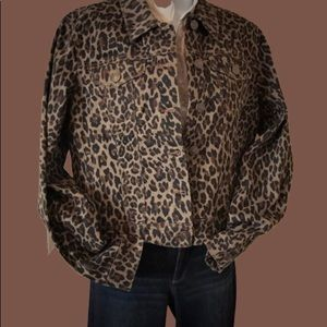 Nine West Animal Print Denim Jacket Size Med NWT
